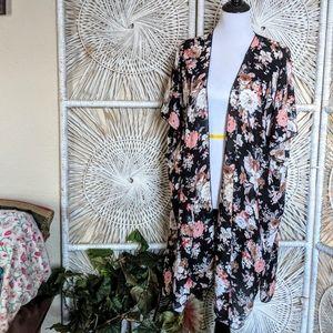 Floral Kimono: Black with Pink & White Flowers
